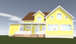 3D-modell över hur huset skulle kunna se ut, men vi är långt ifrån klara över att det blir så här.
